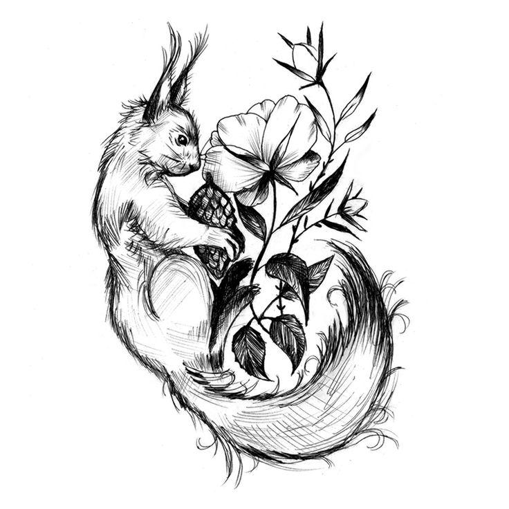 Squirrel tattoo design - essi tattoo #squirrel #ballpointpen #drawing…