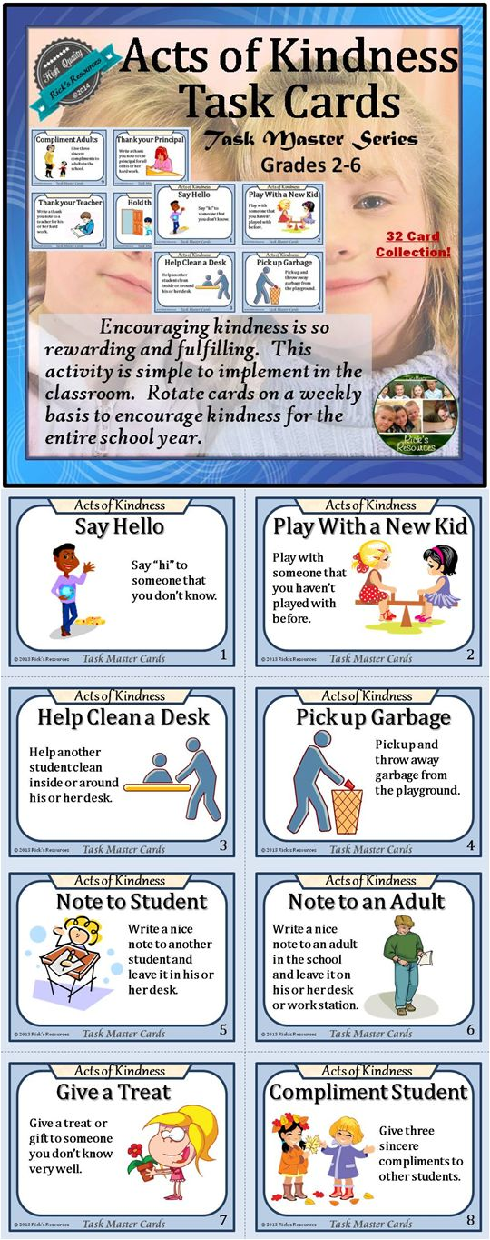 These 32 kindness task cards are a great way to promote kindness and regard within the school and beyond. Rotate the cards weekly to encourage kindness for the entire school year. Use them with a kindness bulletin board, an acts of kindness chart, or with individual student desk or table pockets.