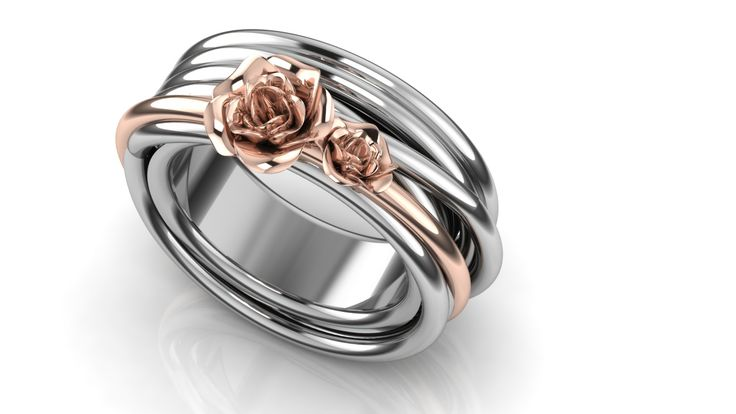 Whitegold basic ring with realistic rose ring in rose gold
