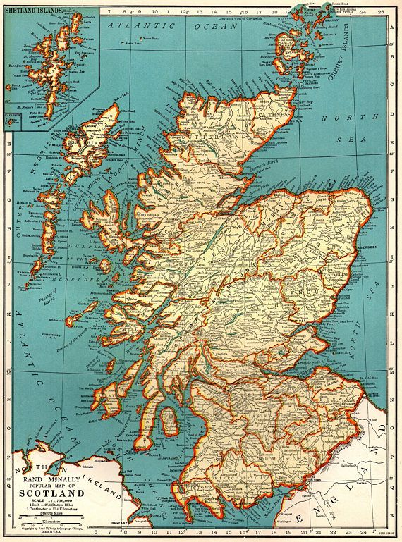1937 Antique SCOTLAND Map Vintage Map of Scotland United