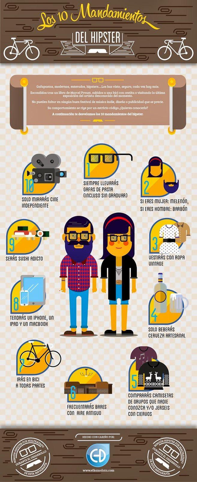 #Infografia #Curiosidades Los 10 mandamientos del Hipster. #TAVnews