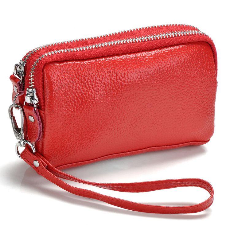 Double zipper wallet women clutch bags genuine leather