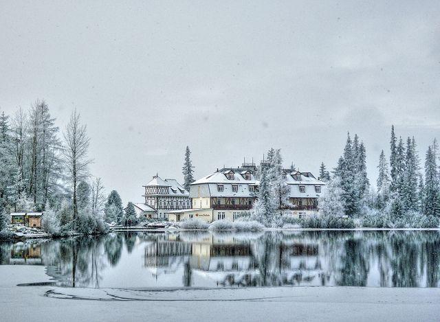 Hotel at mountain lake Strbske pleso #HighTatras #Slovakia