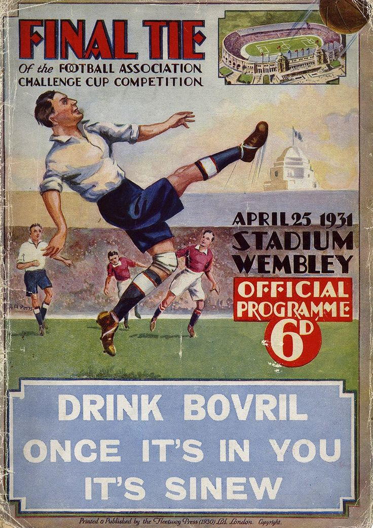 West Brom 2 Birmingham City 1 in April 1931 at Wembley. Programme cover for the FA Cup Final.