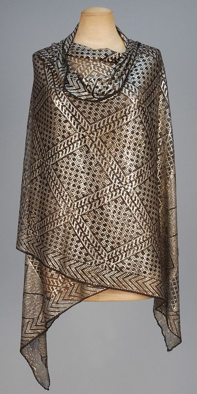 Egyptian Assuit shawl, black cotton net with hammered silver diamond pattern and end border design, 1920's