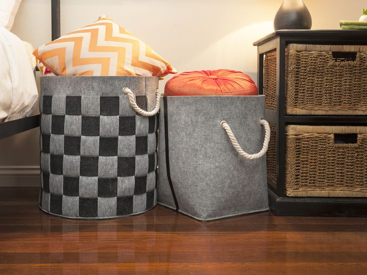 Store cushions and throws in Mocka's contemporary Felt Baskets.
