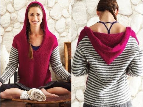 #13 Deep V Hoodie, Vogue Knitting Winter 2013/14 - YouTube