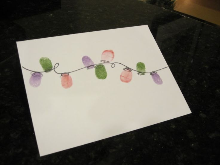 Finger print christmas lights holiday card blog art for Christmas ideas for christmas cards