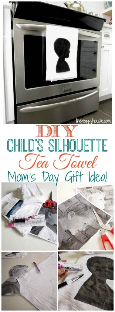 How to make these easy and adorable child's silhouette tea towel a perfect Mother's Day gift idea tutorial at thehappyhousie.com