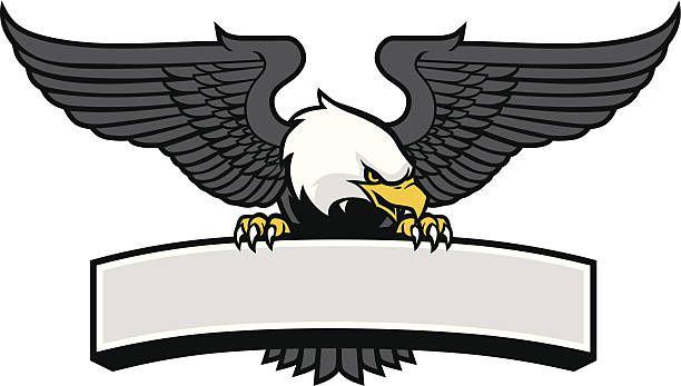 Eagle Mascot Griping The Sign Vector Art Illustration Burung Elang Ilustrasi Grafis Gambar Serigala