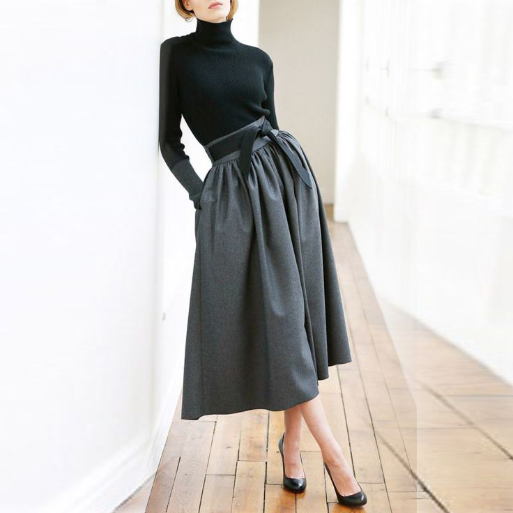 Black Midi Skirts Zipper Waist With Ribbons Pockets A Line Mid Calf Modest Skirt