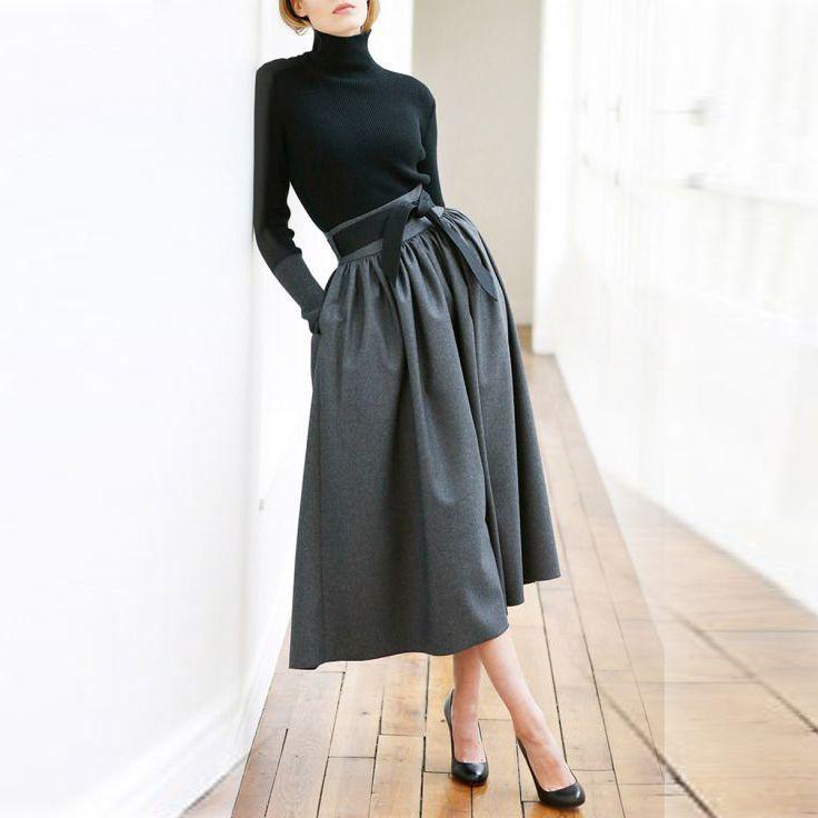 Black Midi Skirts Zipper Waist With Ribbons Pockets A Line Mid Calf Modest Skirt