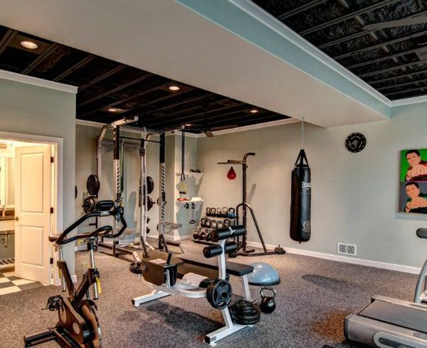 Interesting basement gym nice ceiling lots of really