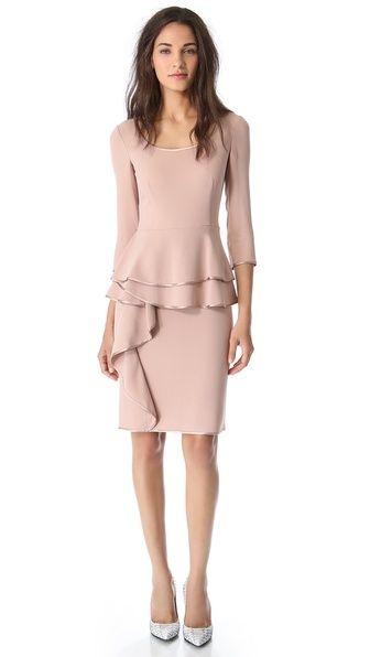 Alberta Ferretti Collection Long Sleeve Peplum Dress