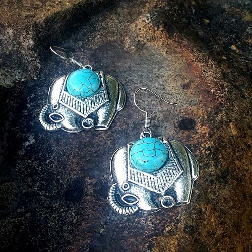 Tibetan Silver Turquoise Elephant Earrings