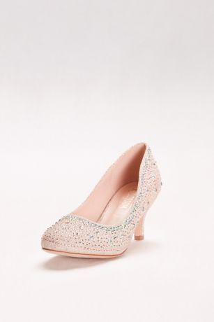 """For big-event comfort, choose these low-heeled pumps, dressed up with allover crystal detailing.   By De Blossom Collection  Synthetic  2.75"""" heel  Imported"""