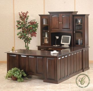 Amish Superior Commodore U-Shaped Executive Desk with Hutch