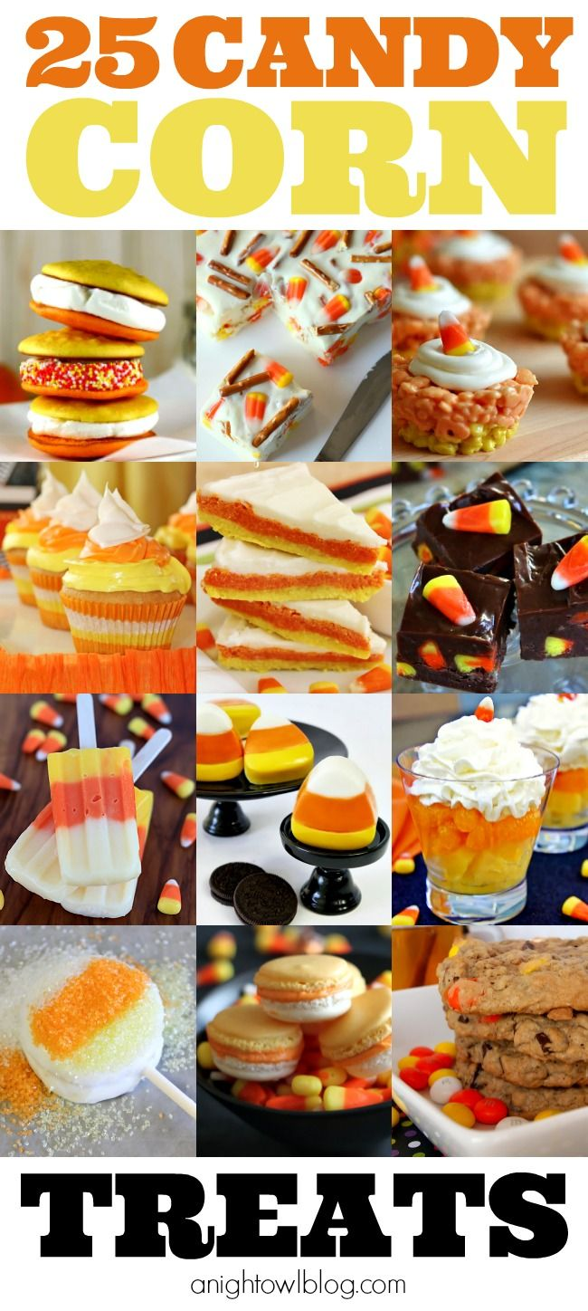 25 Candy Corn Treats - Cookies, Cupcakes and More at anightowlblog.com   #candycorn #treats #desserts