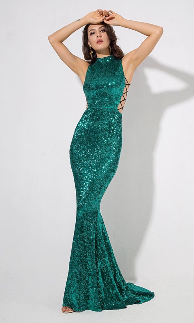 18f481fc2c All About Glamour Emerald Green Sequin Sleeveless Mock Neck Cut Out Sides  Fishtail Mermaid Maxi Dress