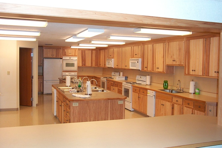 Great lighting and counter space kitchen pinterest ideas beautiful and church for Church kitchen designs