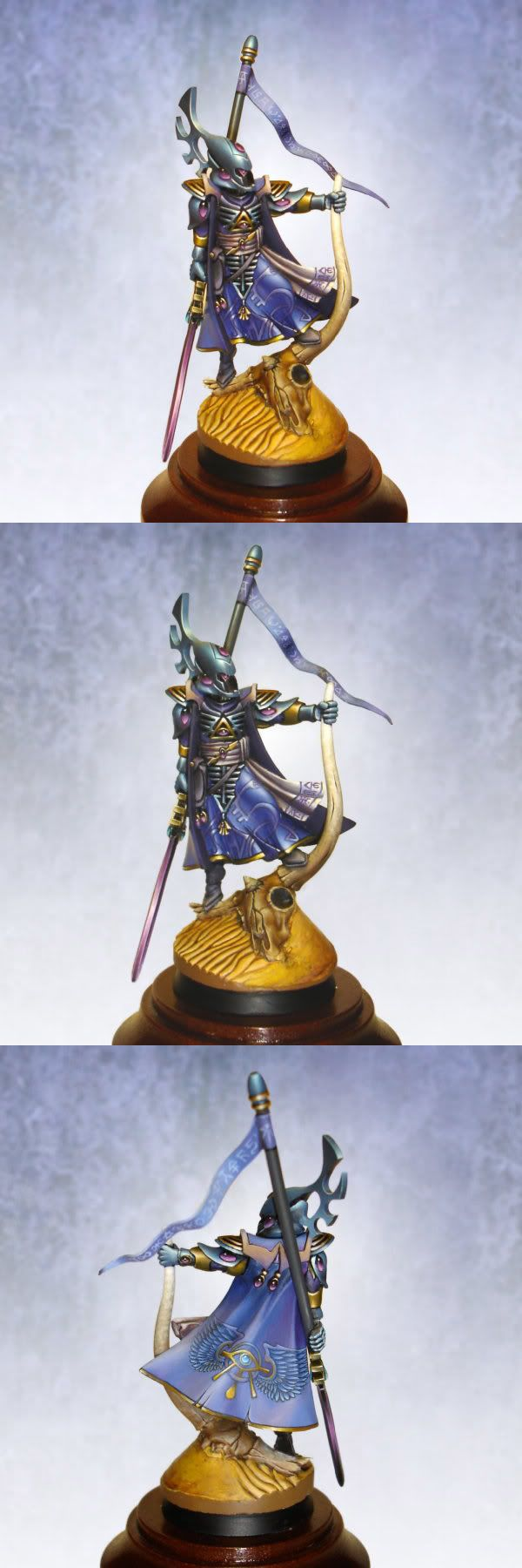 Eldar warseer. I am not sure what to be most impressed on. The beautiful transition in the blade? The script writing or the beautifully accent on armour?