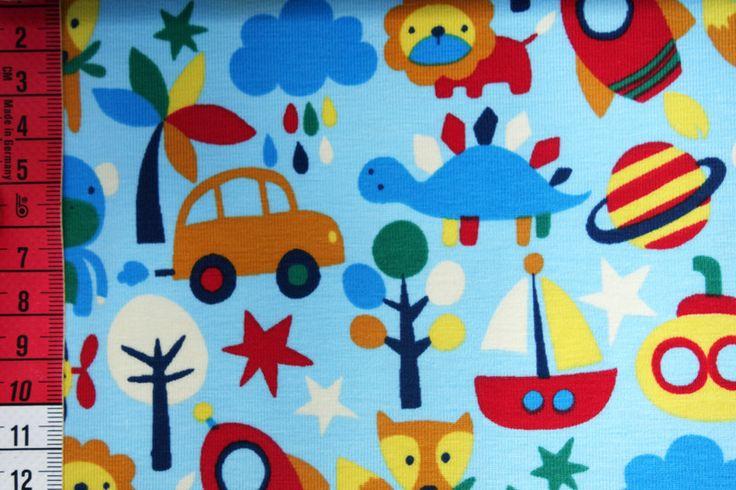 Kinderstoffe - Autos, Löwen, Schiffe Jersey Little Darling - ein Designerstück von Kinderglueckstoffe bei DaWanda