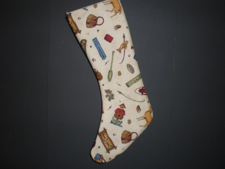 SALE Camping & Fishing Holiday Stocking by GoughGoodies on Etsy