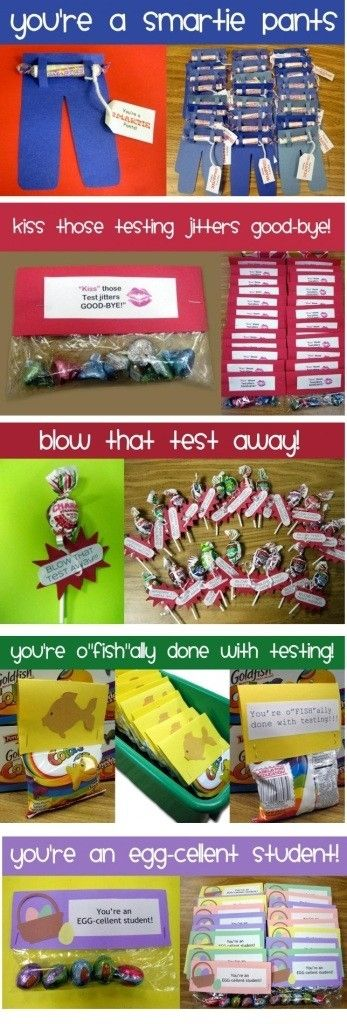 Candy Gifts with testing encouragement messages.... Perfect little incentives for my kiddos around MEAP time.