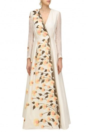 Samant Chauhan Off White Pastel Embroiderd Long Sleeved Angrakha Gown #happyshopping #shopnow #ppus