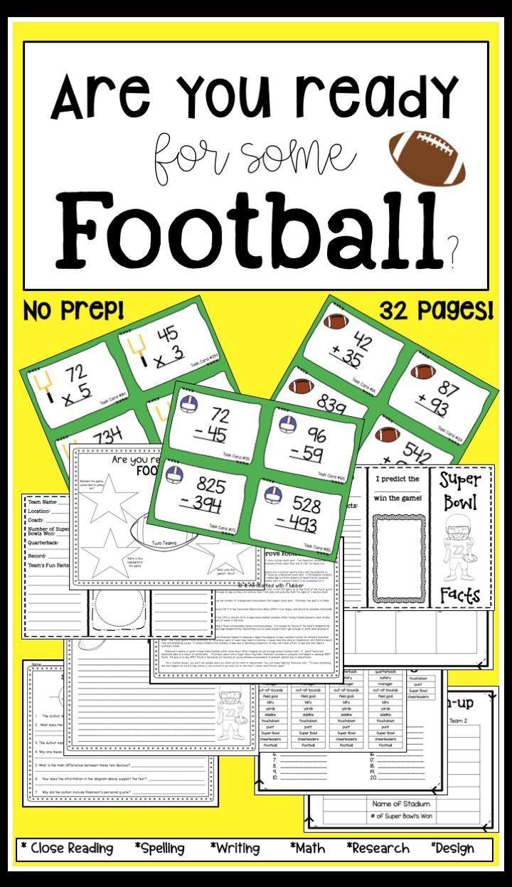 Super Bowl Football Cross Curricular Resources Teaching Math Elementary Math Teaching [ 1247 x 720 Pixel ]