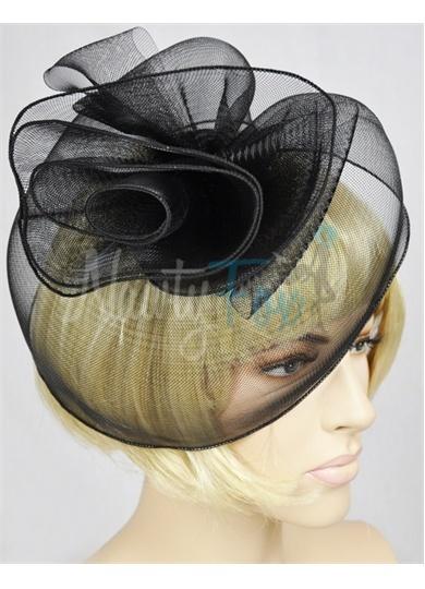 Black Swirl Gothic Lolita Pin-Up Burlesque Fascinator