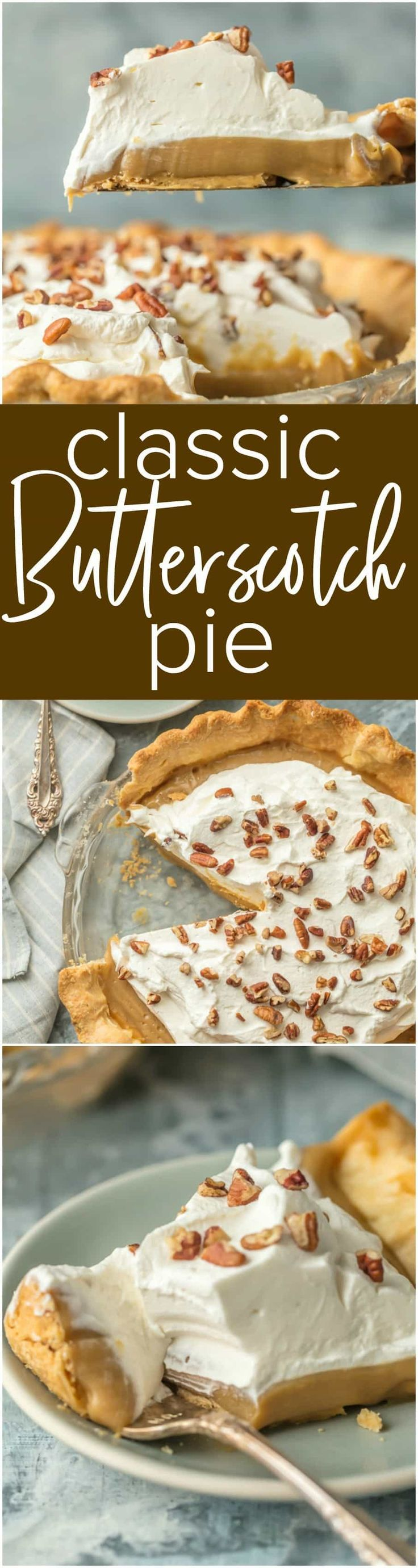 CLASSIC BUTTERSCOTCH PIE is the most decadent dessert you'll have on your holiday table. This pie is so rich and amazing everyone will be asking for the recipe. Perfect for easy Thanksgiving and Christmas baking! via @beckygallhardin