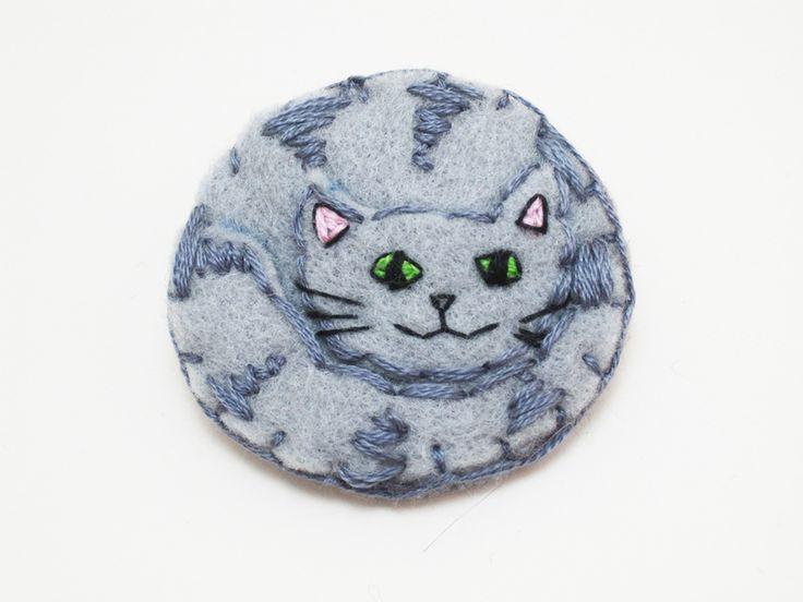 cats at DaWanda Grey Cat felt pin badge from The Happy Whale by DaWanda.com