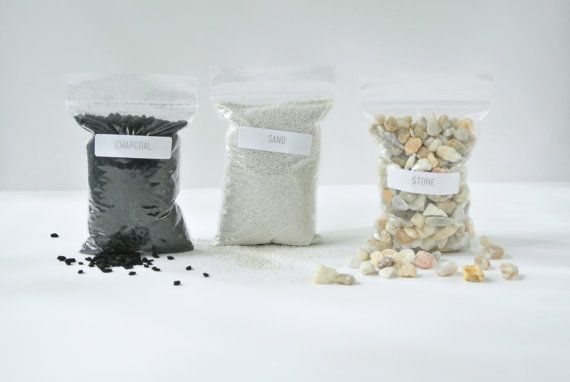Terrarium Supply 3Pack - Sand, Stone and Charcoal ( For Small Terrariums ), DIY, Terrrarium Kit, Succulent,Plants, Cactus