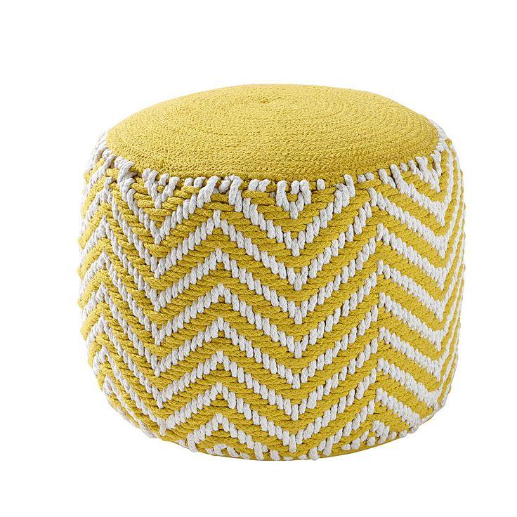 Gele gevlochten katoenen ronde poef ALIX