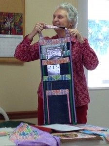 Quilting Ruler Holder that hangs on the wall - made with recycled jeans pants legs - GENIUS!