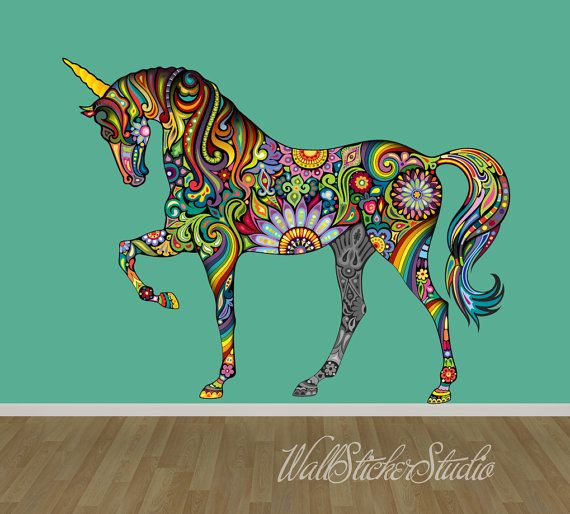 Unicorn Wall Decal, Pattern Horse Fabric Wall Decal Stickers, Reusable Wall Decal