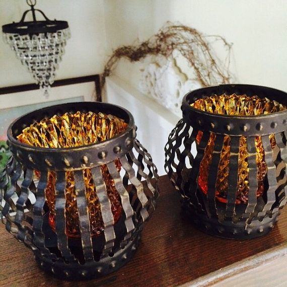 Pair Gothic Candle Holders Amber Sconces in Black by ACertainFeel
