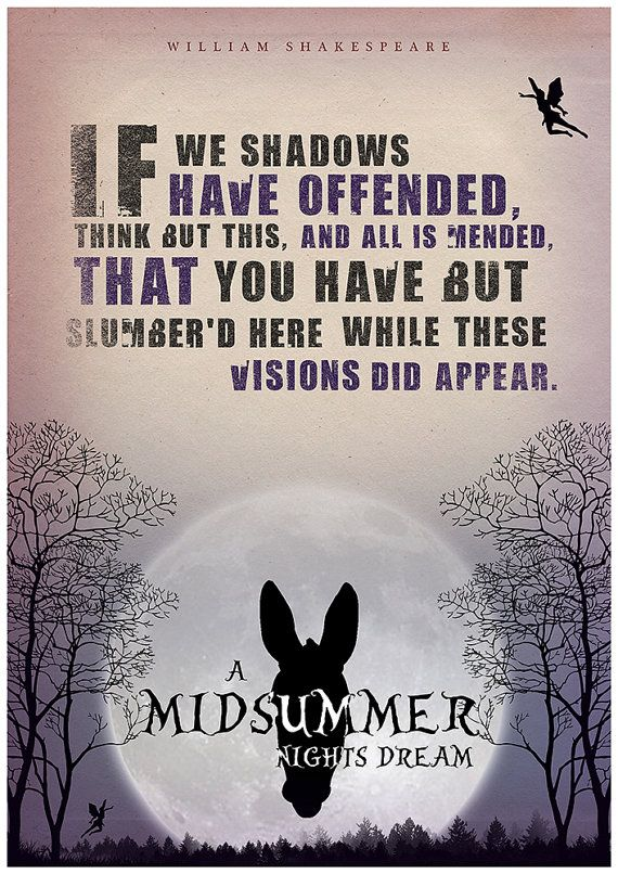 A Midsummer Night's Dream Shakespeare quote by Redpostbox on Etsy