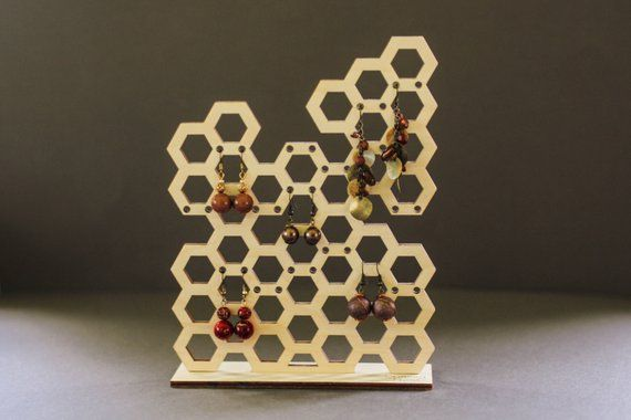 Honeycomb wooden jeweler organizer wild hold your favorite jeweler with style. A…
