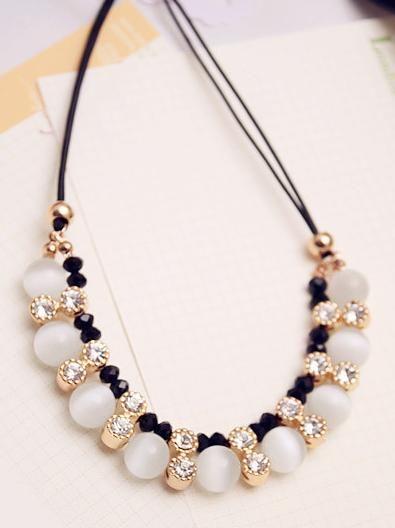 Handmade Cord Necklace with Cat Eye Beads -- Jewelish.com
