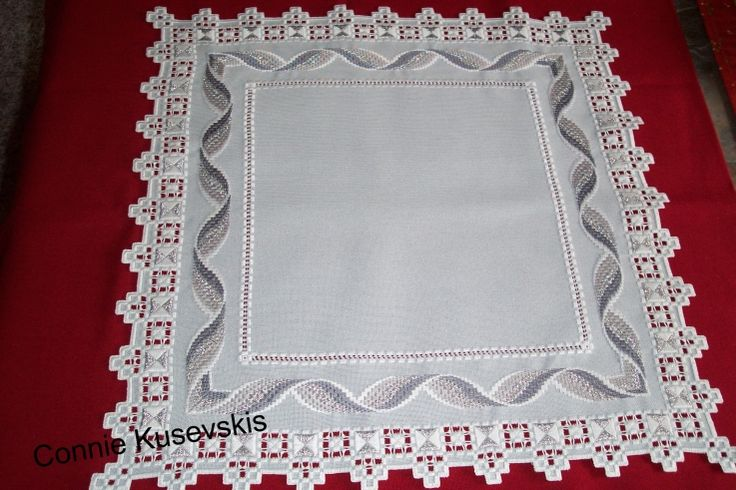 "Hardanger  Bargello Doily ""Twisted Ribbon"""