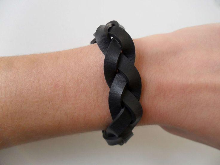 Bracelet tresse noire en chambre à air Bijoux fantaisie : Bracelet par lolit-artcreation