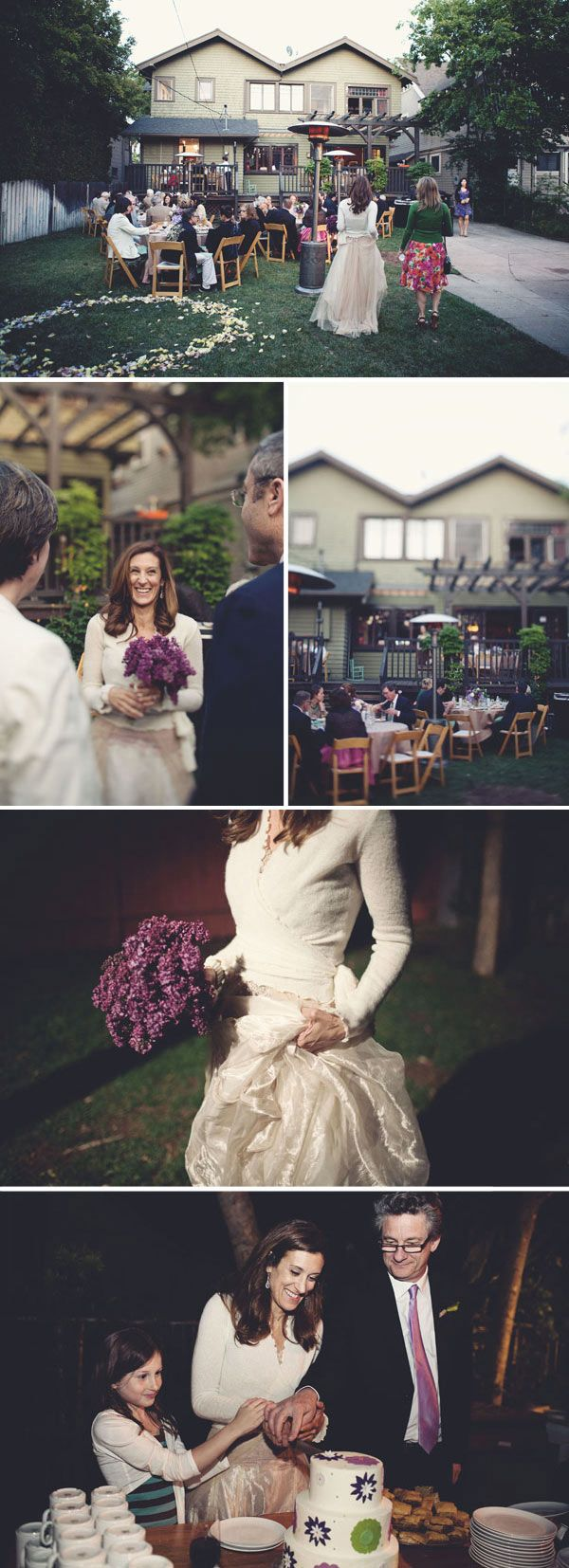 Small backyard wedding: Love the circle of flower petals instead of an arbor to say the vows