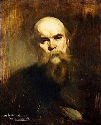 Eugene Carrière - Portrait de Paul Verlaine (1844-1896), poète français, dont la postérité littéraire retient les recherches qu'il a entreprises sur la musicalité du vers et sur la traduction impressionniste des sentiments.