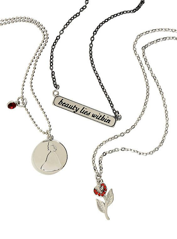 Disney Beauty And The Beast Beauty Lies Within Necklace Set,