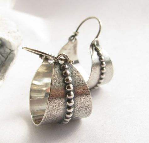 Argentium Ohrringe Silber Creolen Metallarbeiten von Mocahete