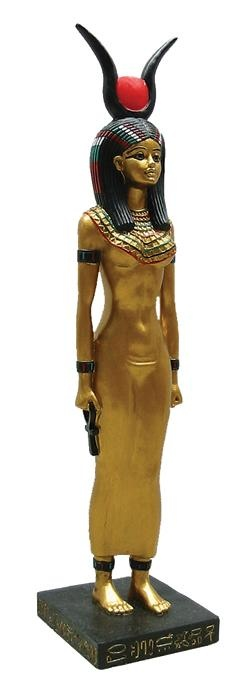 Intricately Metallic Egyptian Isis Statue with Golden Accents