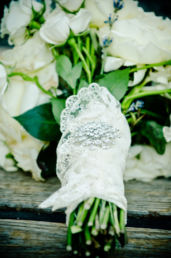 This was my bouquet- we used the lace sleeve from my mom's wedding dress to wrap my flowers in :)