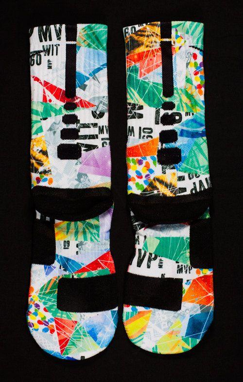 "Custom Nike Elite or Notion Socks for LEBRON 11 ""What the Lebrons"""